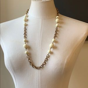VINTAGE 1960 Brass Link White Resin Bead Necklace